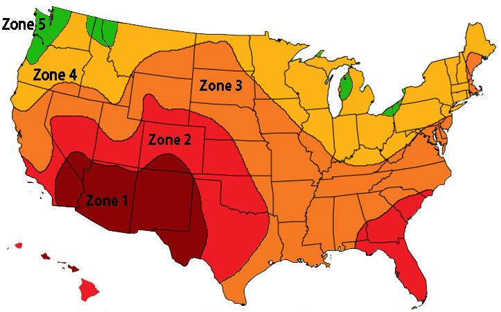 Solar peak sun hours zones map USA