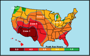 "This map shows the AVERAGE peak sun hours available in each ""Zone"". If your goal is to provide year round power, your system should be sized based on the peak sun hours available during winter months."